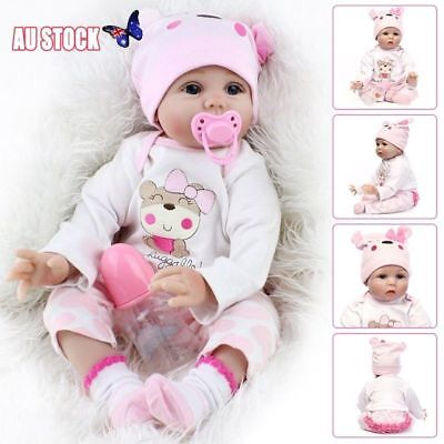 22'' Lifelike Reborn Dolls Girls Newborn Baby Silicone Body Eyes Open LOOK Real