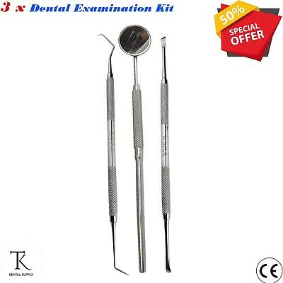 3 x Surgical Laboratory Tool Teeth Scraper, Mouth Mirror Dentistry Instrument CE