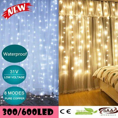 300/600 LED Curtain String Fairy Light Christmas Wedding Lighting Waterfall SAA