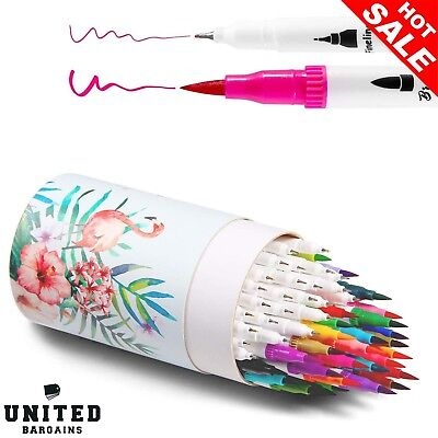 60 Water Based Colors Dual Tips Coloring Brush Fineliner Highlighter Marker Pens