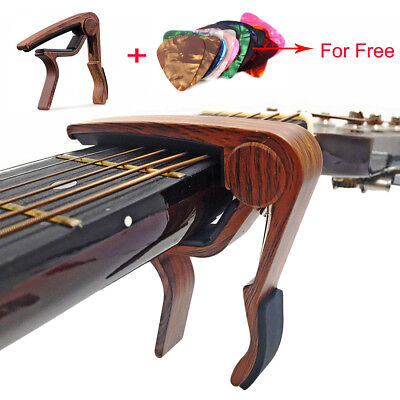 Wooden Guitar Capo Adjustment  Acoustic Classic Electric Guitar Tuner + Picks