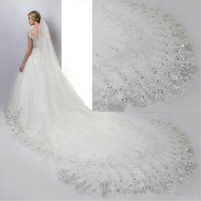 Lace 4M*1.8M Cathedral Ivory&White Long Women's Props Bridal Wedding Veil+Comb