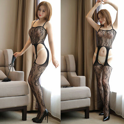 Women Lace Transparent Sexy Black Mesh Crotchless Full Body Stocking Lingerie