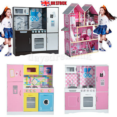 Kids Toy Wooden Kitchen Children Cooking Role Play Pretend Set Christmas Gift Uk