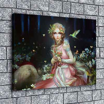 """Fantasy Girl HD Canvas prints Painting Home decor Picture Room Wall art 16""""x22"""""""