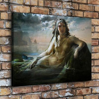 "16""x22""Mermaid Nude Woman HD Canvas prints Painting Home decor Picture Wall art"