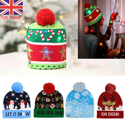 Christmas LED Beanie Hat Battery Sweater Unisex Head Light Up Knitted Party Hat