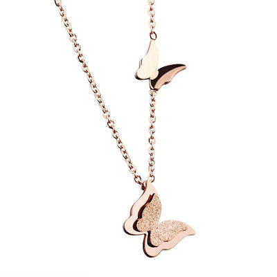Elegant Trendy Rose Gold Charm Choker  Butterfly Shaped Clavicle Necklace Women