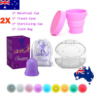 AU! 2pcs Reusable Menstrual Cup with Carry Case& Sterilizer Cup Period Soft Cups