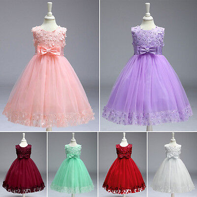 AU Kid Flower Girl Baby Princess Lace Party Wedding Tulle Tutu Dress Pageant