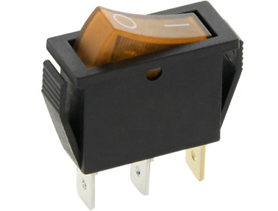 SLIM Rocker Switch 16A 240V 20A125V ORANGE ON-OFF Double Pole 3 Pin ILLUMINATED