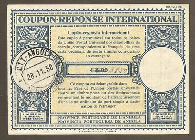 ANGOLA 1958 3$50 / 4$00 XVIn International Reply Coupon Antwortschein IRC IAS oo