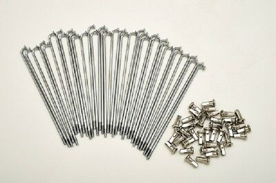 kit 40 spokes and nipples polished steel diameter 2,5 mm length 175 mm 90° new