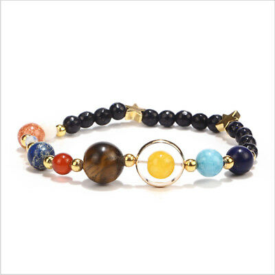 Women Solar System Bracelet Universe Galaxy The Nine Planets Bangle Jewelry LH