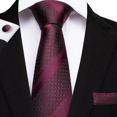 Classic Wine Red Striped Mens Tie Woven Silk Necktie Set Hanky Cufflinks Wedding