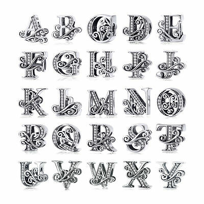 European Hot 925 Silver 26 Letters Charm Beads With CZ Fit Bracelet Chain Gifts
