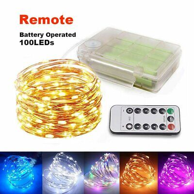 Wireless Remote 100 Micro LEDs String Lights Xmas Party Lamp Battery Operated AU