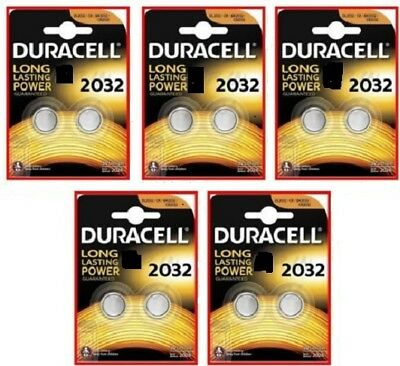 10 PILE BATTERIE DURACELL 2032 CR2032 3V +50% MORE POWER LITIO Lithium
