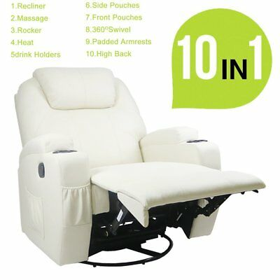 ELECTRIC MASSAGE RECLINER LEATHER ARMCHAIR With HEAT  Function ERGONOMIC CHAIR