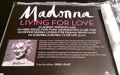 Madonna Living For Love New Rare UK 4 Track CD Collectable Remixes Deleted Rebel