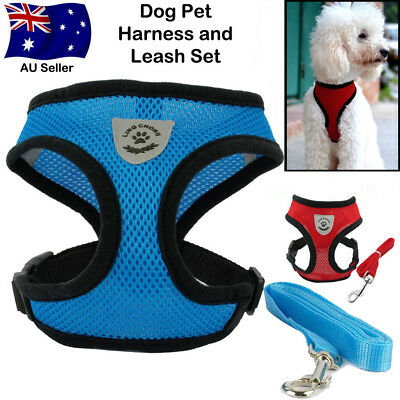 Soft Air Mesh Small Dog Cat Harness and Lead Set Adjustable Puppy Vest AU