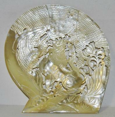 Antique Chinese 19thC Carved Mother of Pearl Shell Dish Fo Dog Lion Tray 8in MOP