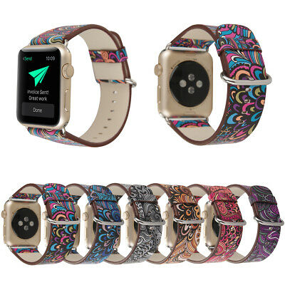 40/44mm iWatch Leather Band Floral Strap Bracelet for Apple Watch Series 5 4 3 2