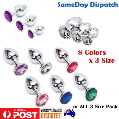 BDSM Stainless Steel Anal Plug butt Plug bright Crystal/Jewel Adult/Sex Toy