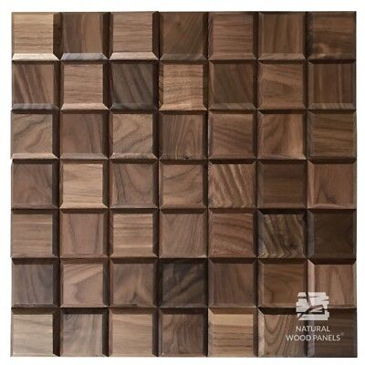 Natural Wood Wall Panel American Walnut Chocolate Cube Smooth Decor 3D Samples