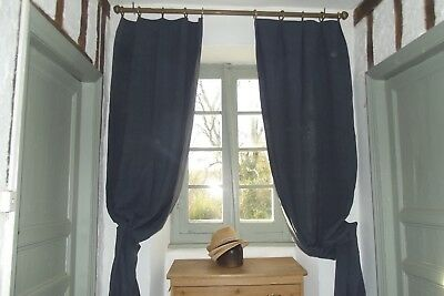 Pair Antique Drapes French Linen Curtains Pure Linen Charcoal grey Long 3yards