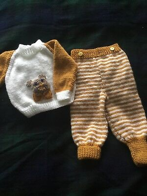 Hand Knitted Baby Teddy Jumper And Pants 0/6 Mths