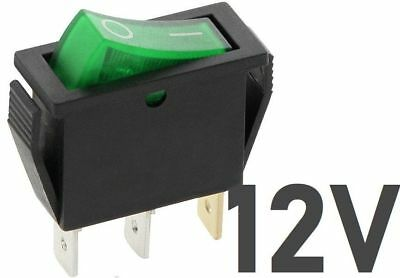 12V 20A SLIM Rocker Switch GREEN ON-OFF Double Pole 3 Pin ILLUMINATED
