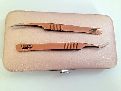 Professional Beauty Saloon Stainless  Rose eyebrow Eye Lash Extension Tweezers