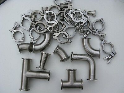"""2""""  Sanitary Fittings  lot of 8 with clamps"""