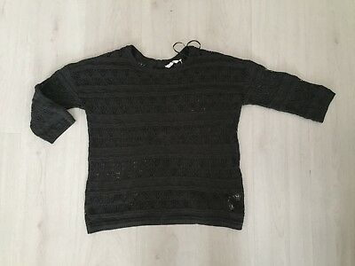 Fat Face Fully Opening Buttoned Back Dark Grey Holey Jumper Size 12 - Vgc