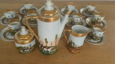 Vintage C P Limoges Porcelain Coffe Set 27Pieces Hunting Scenes Gold Fine France