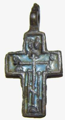 Medieval Old Believers Cross Bronze & Enamel Byzantine Orthodox Crucifix Passion