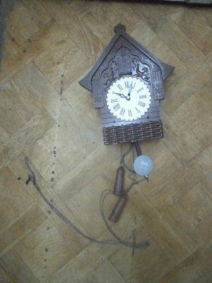 Vintage USSR wall cuckoo mechanical clock Majak bakelite small hut