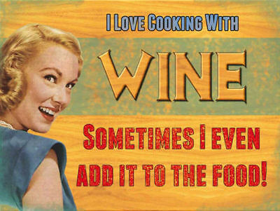 Retro Vintage Style Metal Sign I LOVE COOKING WITH WINE FUNNY KITCHEN HOME DECOR