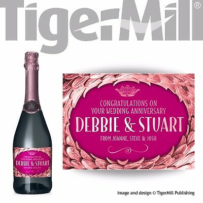 PERSONALISED rose gold Champagne label Valentine Birthday Engagement Wedding Hen