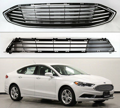 Fits Ford Fusion 2017-2018 Front Bumper Upper & Lower Grille Assembly HS73-8200