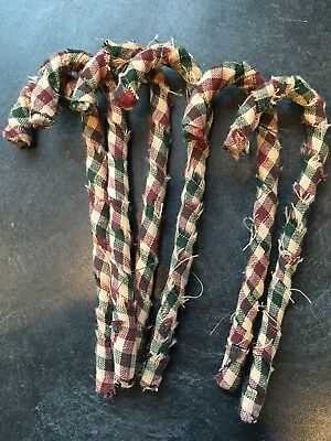 Primitive Rag Wrapped Homespun Candy Canes Christmas Ornaments Set of 6
