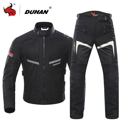DUHAN Brand Men's Motorcycle Reflective Jacket Mesh 5pc Protective Gear Clothing