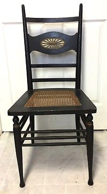 Antique Victorian Carved Wood Cane Seat Side Dinning Rest Accent Chair - Nice!!