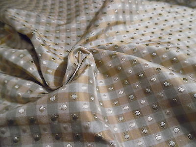 "SMALL CUT~SILK JACQUARD~TINY CHECKS/DOTS~STERLING/GOLD/CREAM~9""x27""~DOLL FABRIC"