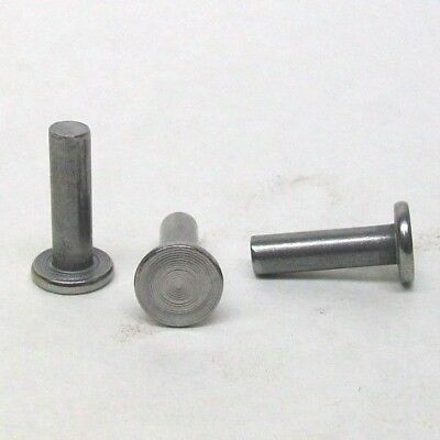 "Pack Of 25 New 1/4"" X 7/8"" Solid Flat Head Rivet Plain Steel Free Shipping Nh"