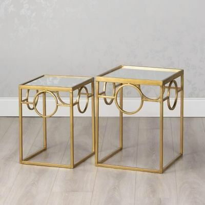 78eee9ff4f5119 Gold Glass & Metal Set Of 2 Square Geometric Nest Of Side End Lamp Coffee  Tables