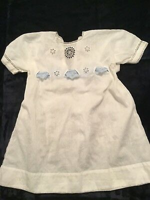 Vintage 1930's Baby Blessing, Christening Dress, White, Lace Blue And White
