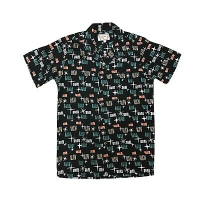 f53ca04c Santiki Men's Black Starlight Camp Shirt-Retro Hawaiian Mid-Century Modern  Print