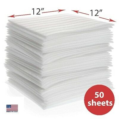 """Foam Sheet Cushion 12"""" x 12"""" 50 pcs Protect Glasses,China and Dishes for Moving"""